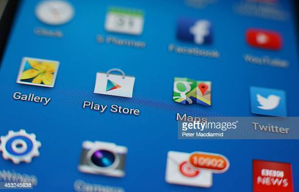 A close up image of a Samsung smartphone shows home screen apps on August 6 2014 in London England Smartphone and tablet manufacturers Samsung and...