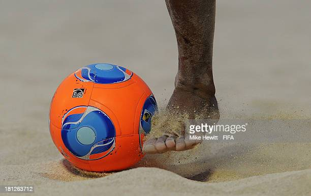 A close up image of ball control during the FIFA Beach Soccer World Cup Tahiti 2013 Group B match between Argentina and El Salvador at the To'ata...