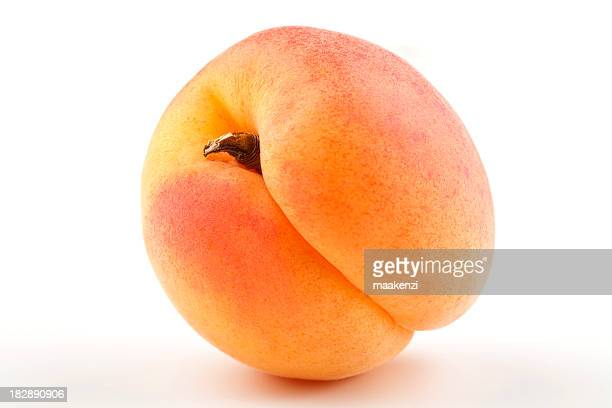 Close up image of fresh apricot on white background