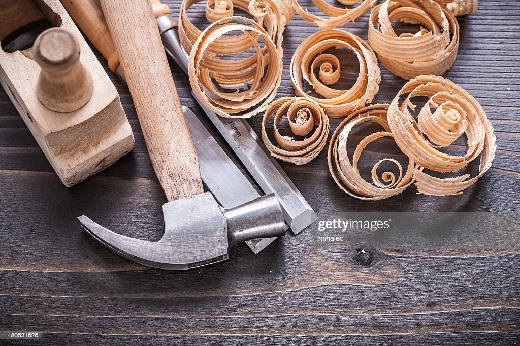 Close up image of planer claw hammer metal chisels and : Stock Photo