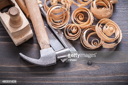 Close up image of planer claw hammer metal chisels and : Stockfoto