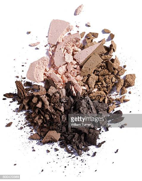 A close up image of smashed eye shadow makeup.