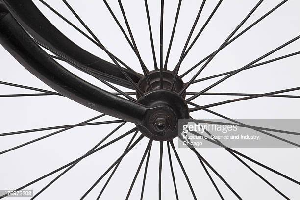A close up image of the front wheel assembly of an early American made safety bicycle dating between 1890 and 1895 which is part of a collection of...