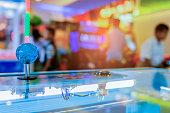 Close up Joystick of arcade.,Vintage tone,Close up Joystick of game player