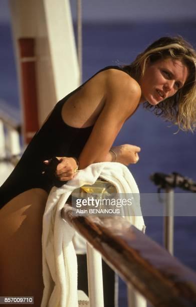 Close up Katrin Krabbe athlete allemande championne du monde du 100 metres le 18 septembre 1991 a Monaco