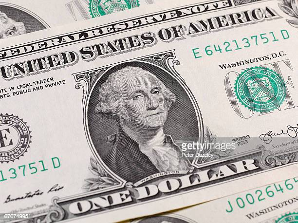 close up of $1 US dollar banknote