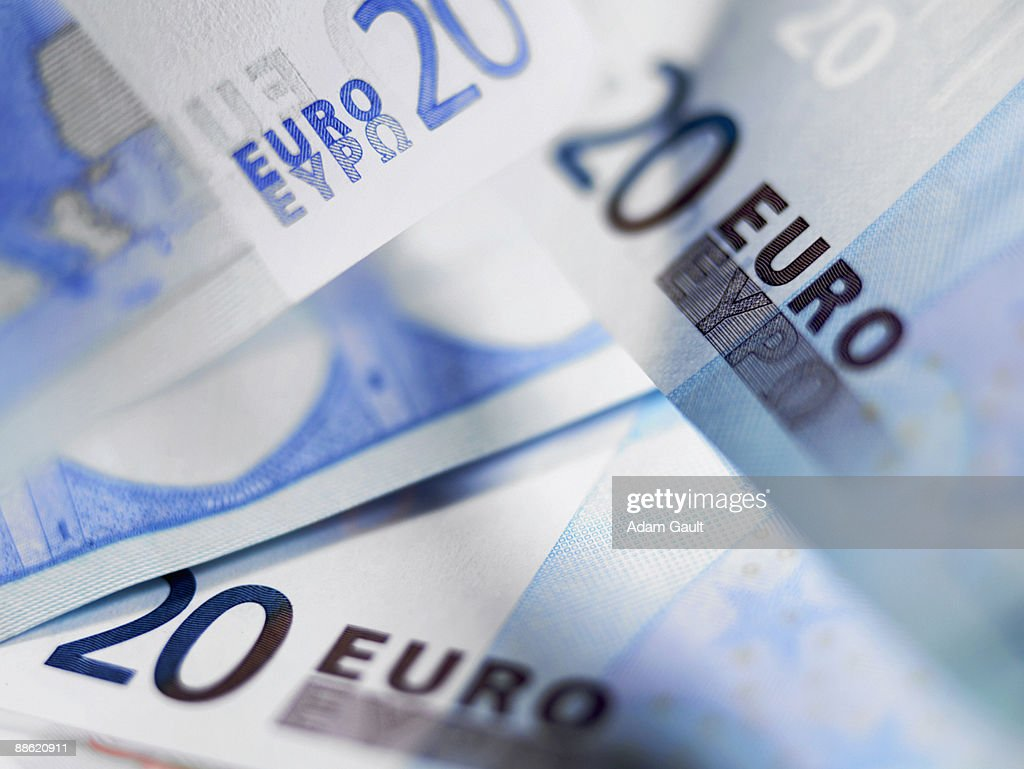 Close up of 20 euro notes : Stock Photo