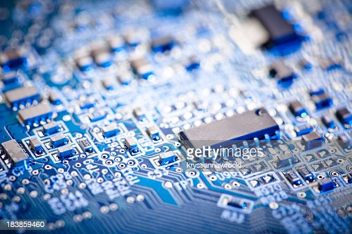 Close up of a blue computer circuit board