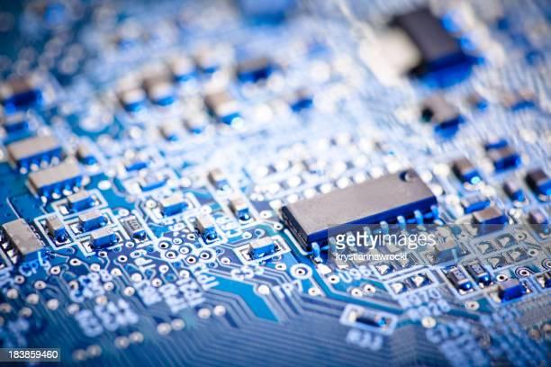 computer circuit board Blue enfoque conjunto de microchip