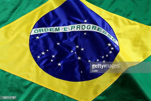 A close up of a Brazilian flag