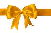 Close up of a bright gold bow with two loops on each side