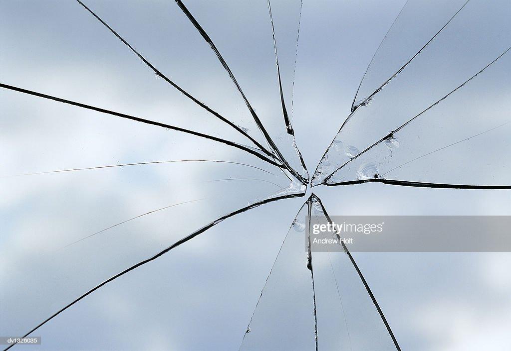 Close Up of a Broken Glass Window