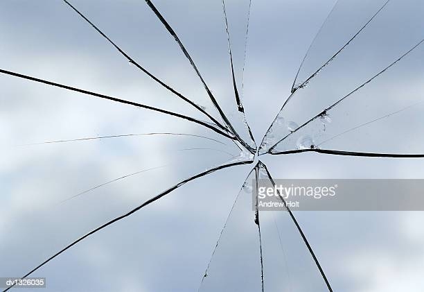 Close Up of a Broken Glass Window