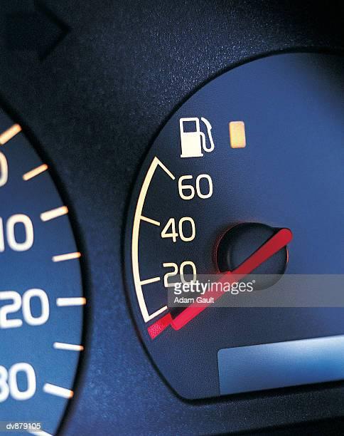 Close up of a Car's Empty Fuel Gauge