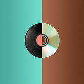 The collage from cd and partial vinyl record. The concept of old and new technologies
