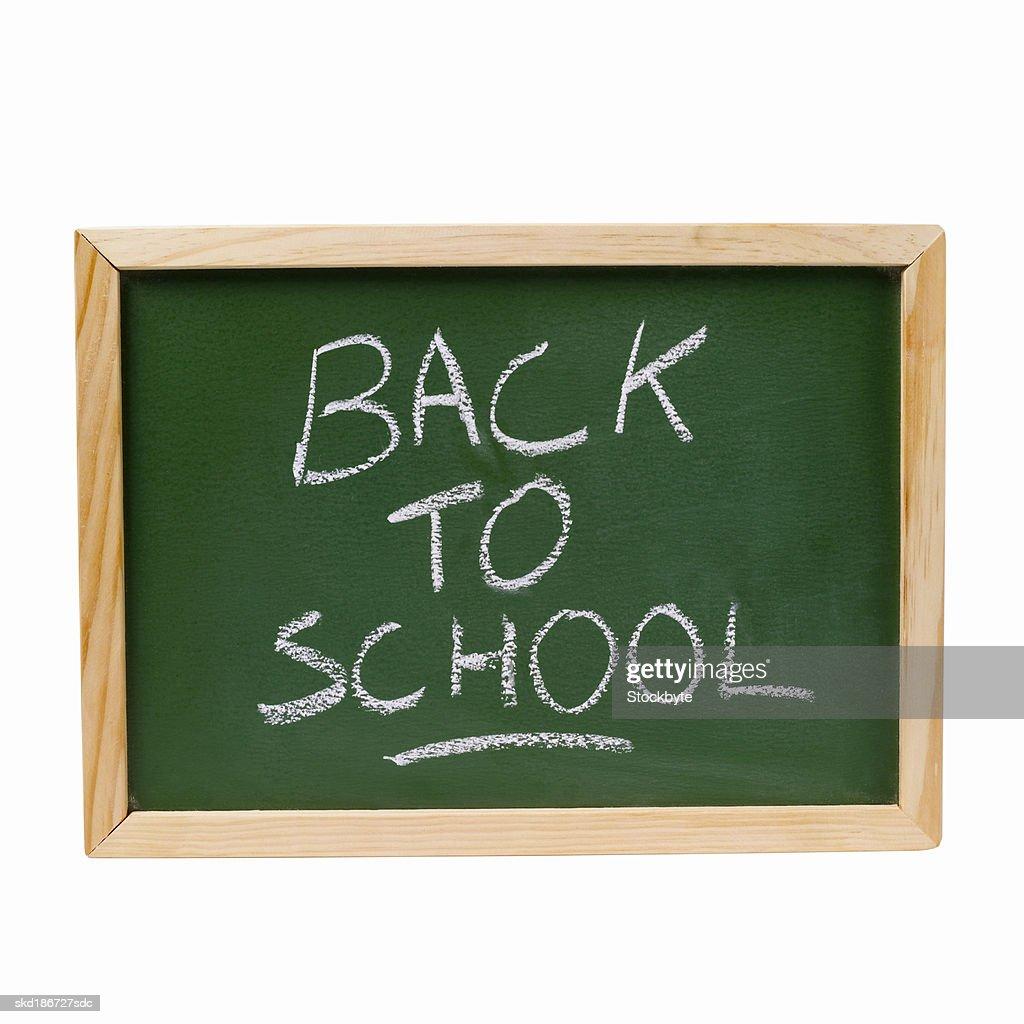 Close up of a chalkboard with back to school written on it