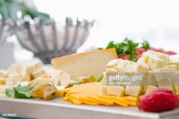 Close up of a cheese platter.