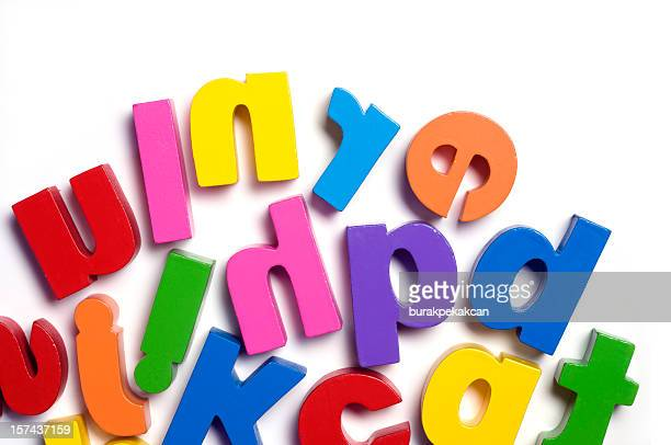 Close up of a child's toy letters