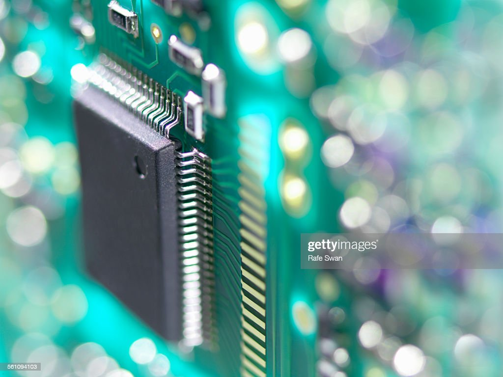 Close up of a circuit board used to connect electrical components to form a circuit