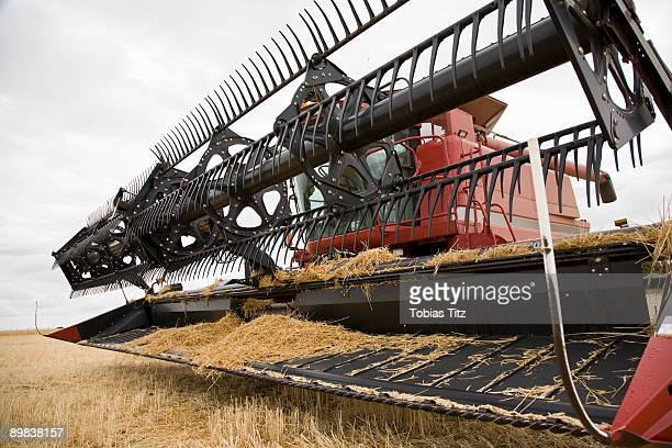 Close up of a combine in a field