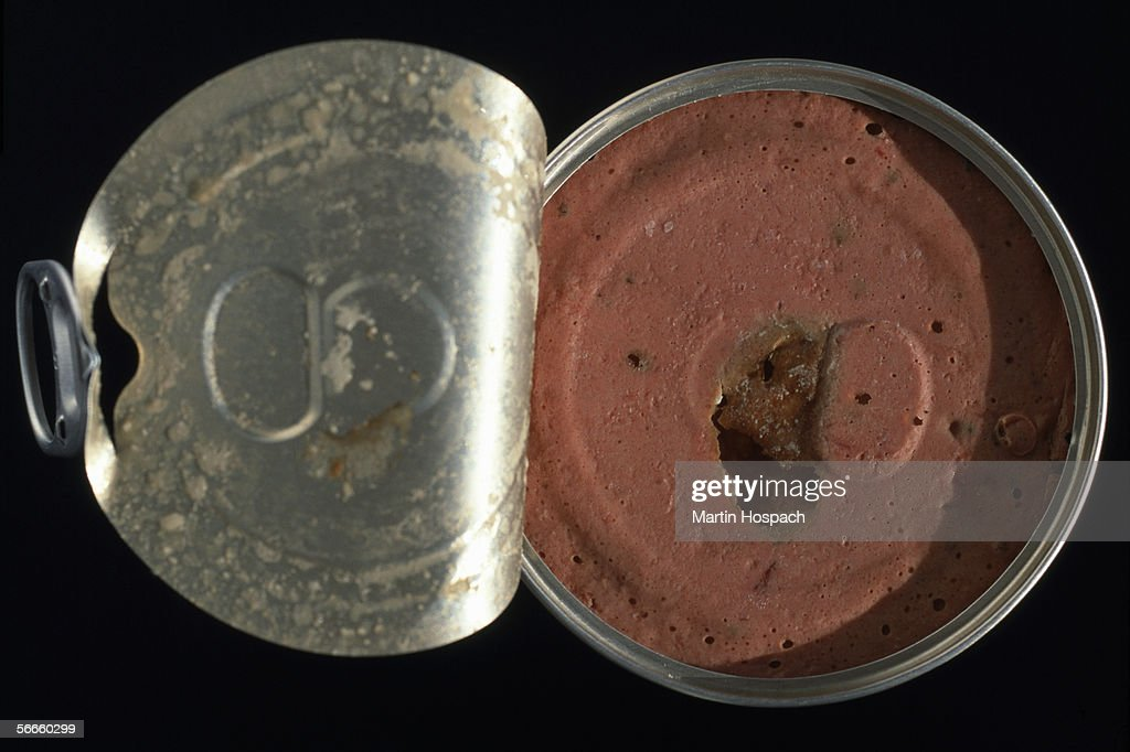 Close up of a container of processed meat : Stock Photo