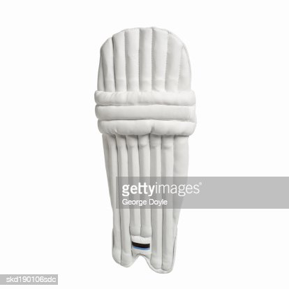Close up of a cricket leg pad