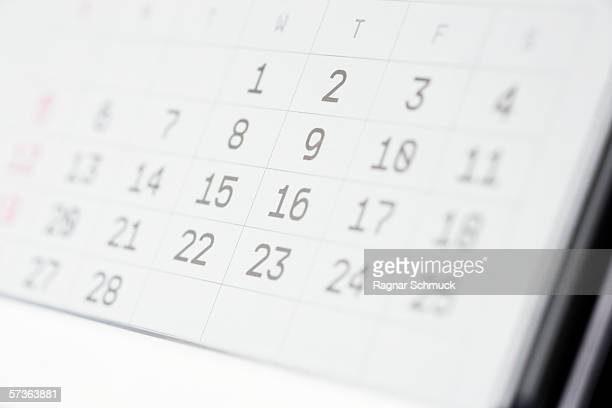 Close up of a desk calendar