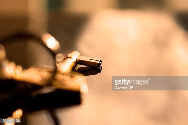 A close up of a door key
