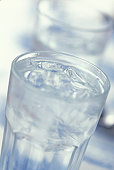 Close up of a glass of water and ice