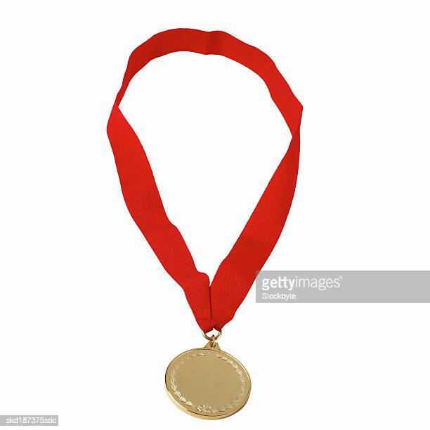 Close up of a gold medal