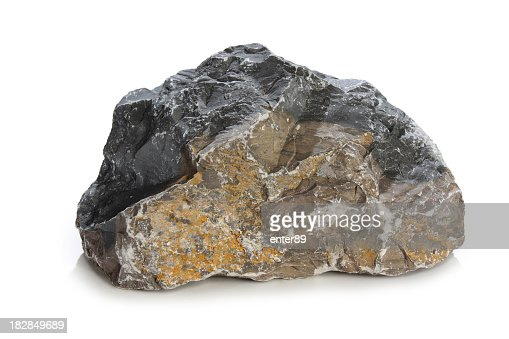 A close up of a gray rock on a white background