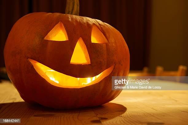 Close up of a halloween pumpkin