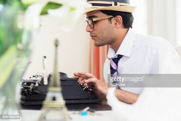 Close up of a journalist at work