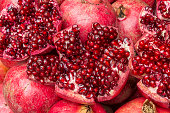 Close up of a juicy pomegranate.