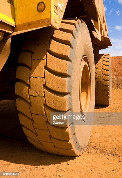 Close up of a large mine site truck tyre.