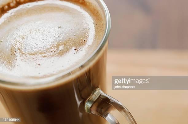 クローズアップのコーヒー、ラテ