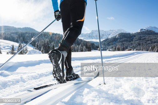 Close up of a male skier cross-country skiing