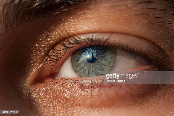 close up of a mans eye