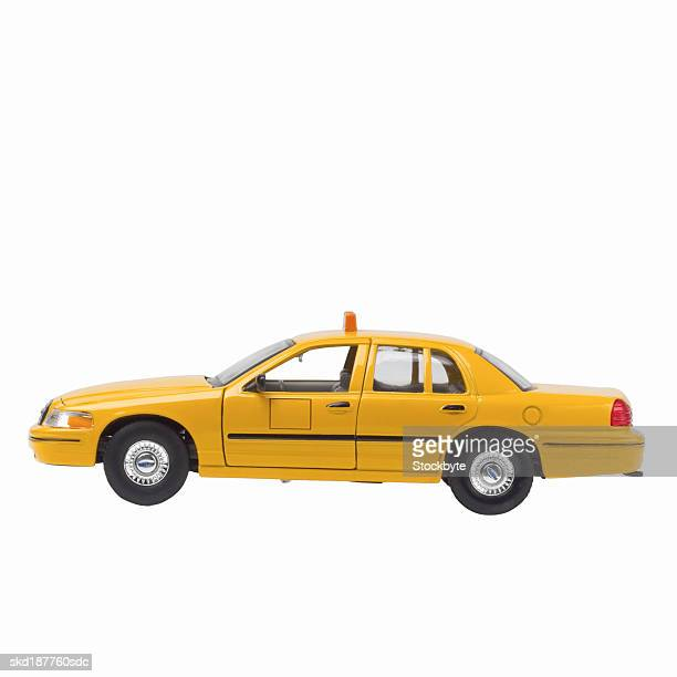 Close up of a model yellow taxi