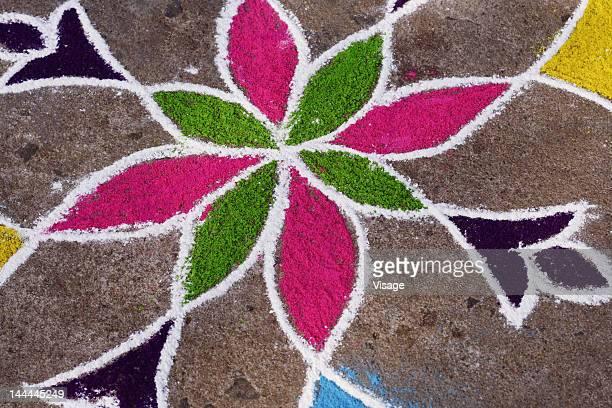 Close up of a multi-coloured rangoli