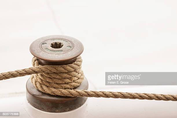Close up of a nautical rope and pulley
