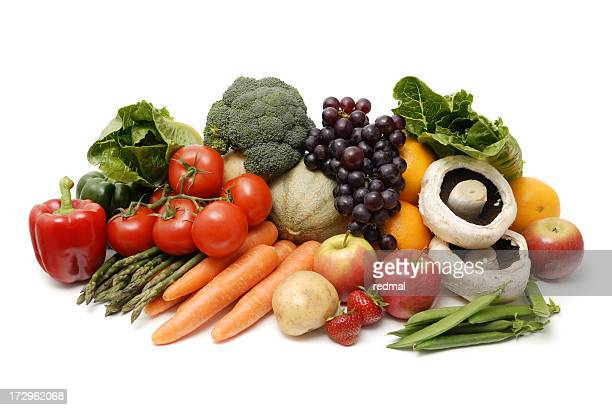 A close up of a pile of fruit and vegetables