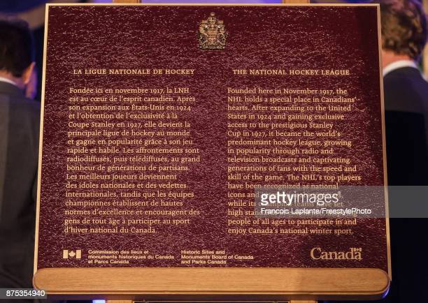 A close up of a plaque unveiled as part of the NHL Centennial 100 Celebration at Windsor Hotel on November 17 2017 in Montreal Canada