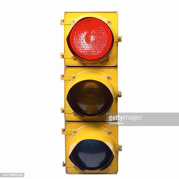 Close up of a red stop traffic light