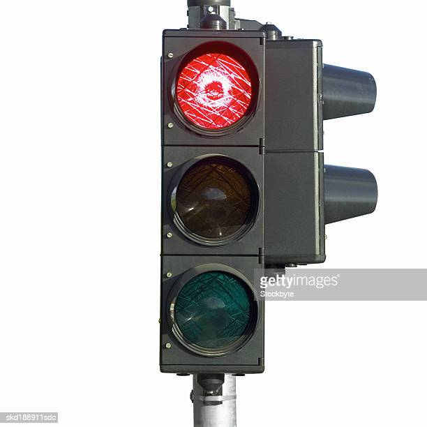Close up of a red 'stop' traffic light