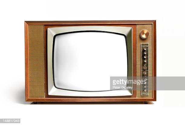Close up of a retro television
