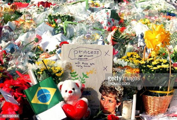 A close up of a section of the hundreds upon hundreds of floral tributes and posies and personal tributes in the form of toys and photos of Diana...