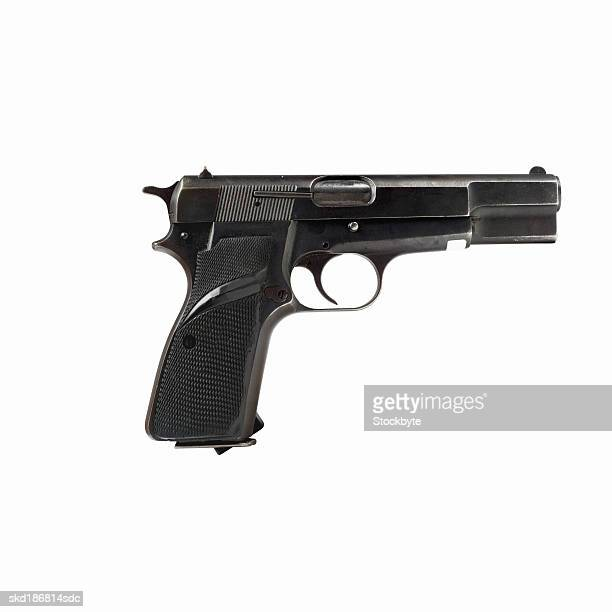 Close up of a semi-automatic pistol