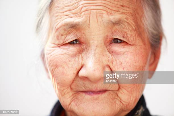 close up of a senior asian woman