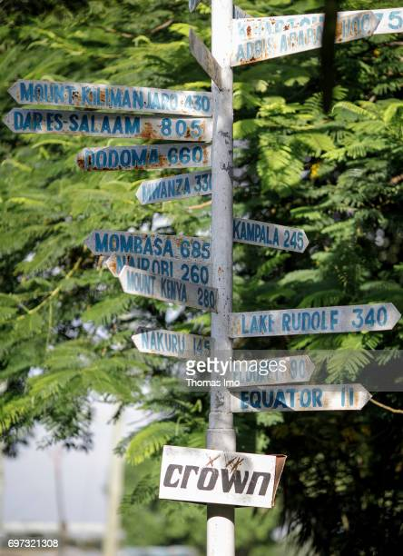 Close up of a signpost in Kisumu on May 16 2017 in Kisumu Kenya